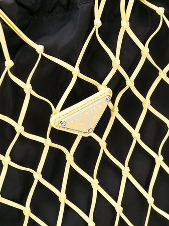 Fabric Mesh Hobo Bucket Bag in Gold Tone and Black
