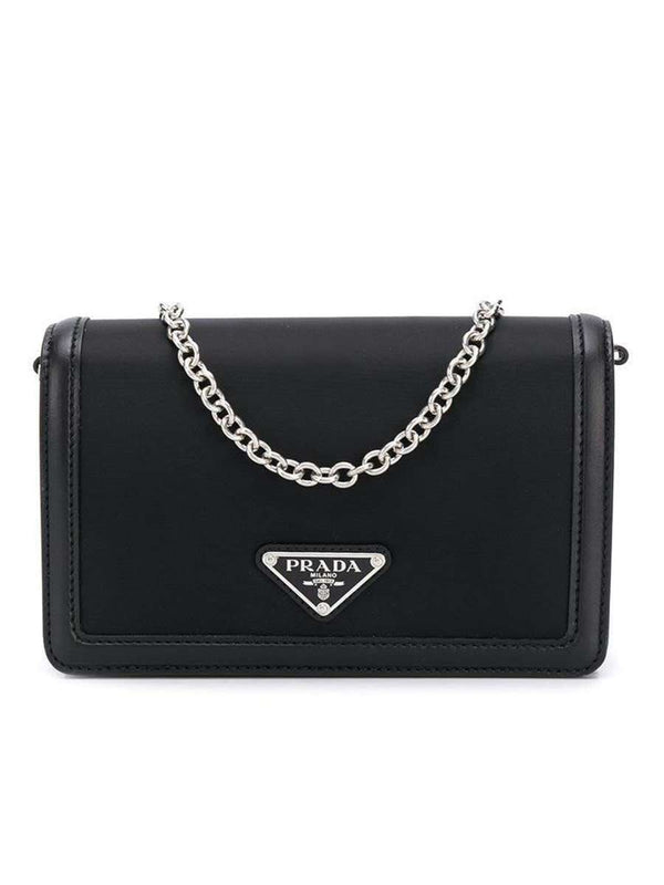 Nylon and Leather Mini Bag Black