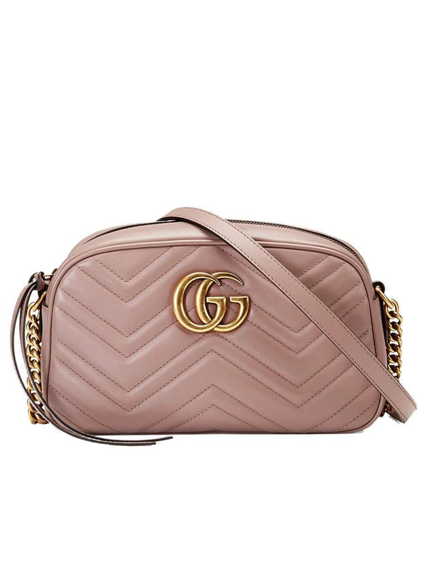GG Marmont Small Matelassé Zipped Dusty Pink Shoulder Bag