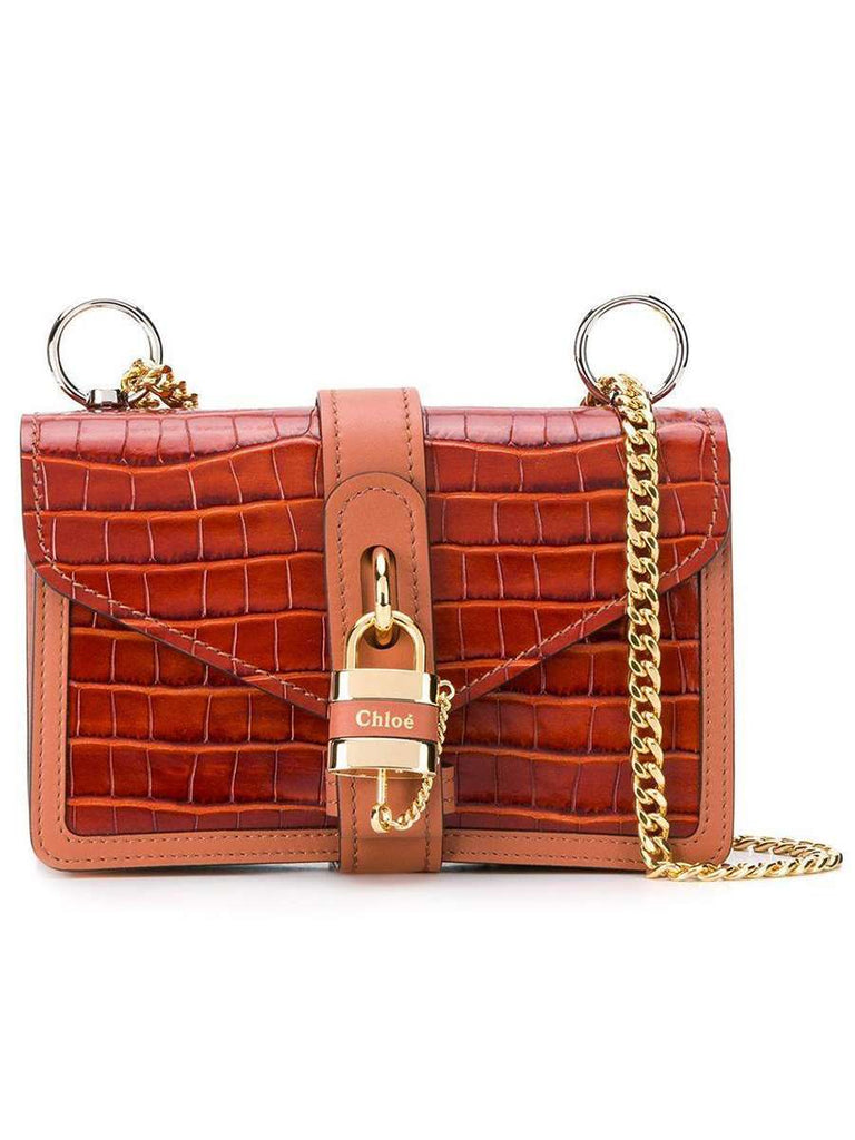 Aby Chain Shoulder Bag in Embossed Croco Effect on Calfskin