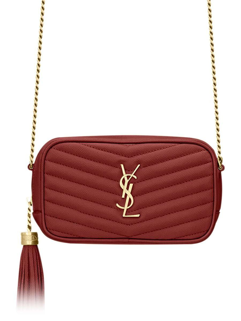 Lou Mini Bag in Quilted Grain de Poudre Embossed Leather in Rouge Opyum