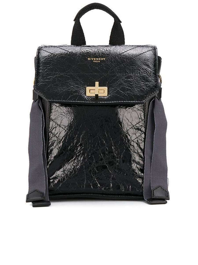Mini ID Backpack in Black Crackling Leather