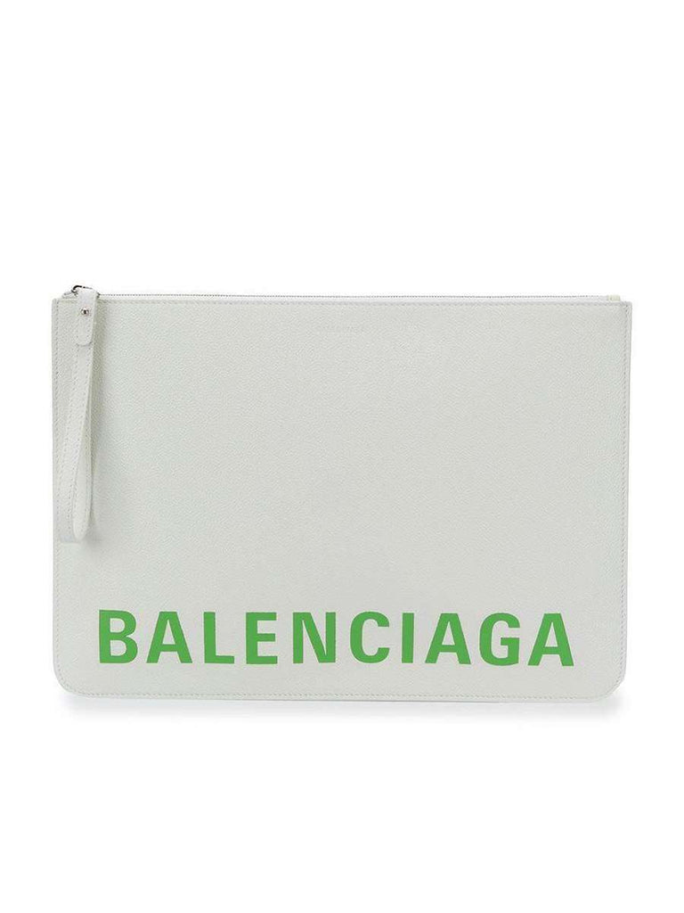Large Logo Pouch in White and Light Green