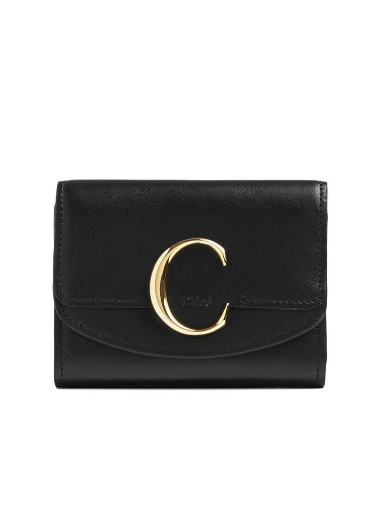 C Small Tri-Fold Wallet in Black