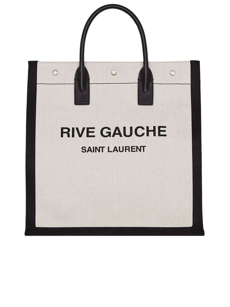 Rive Gauche N/S Tote Bag in Printed Linen and Leather White and Black