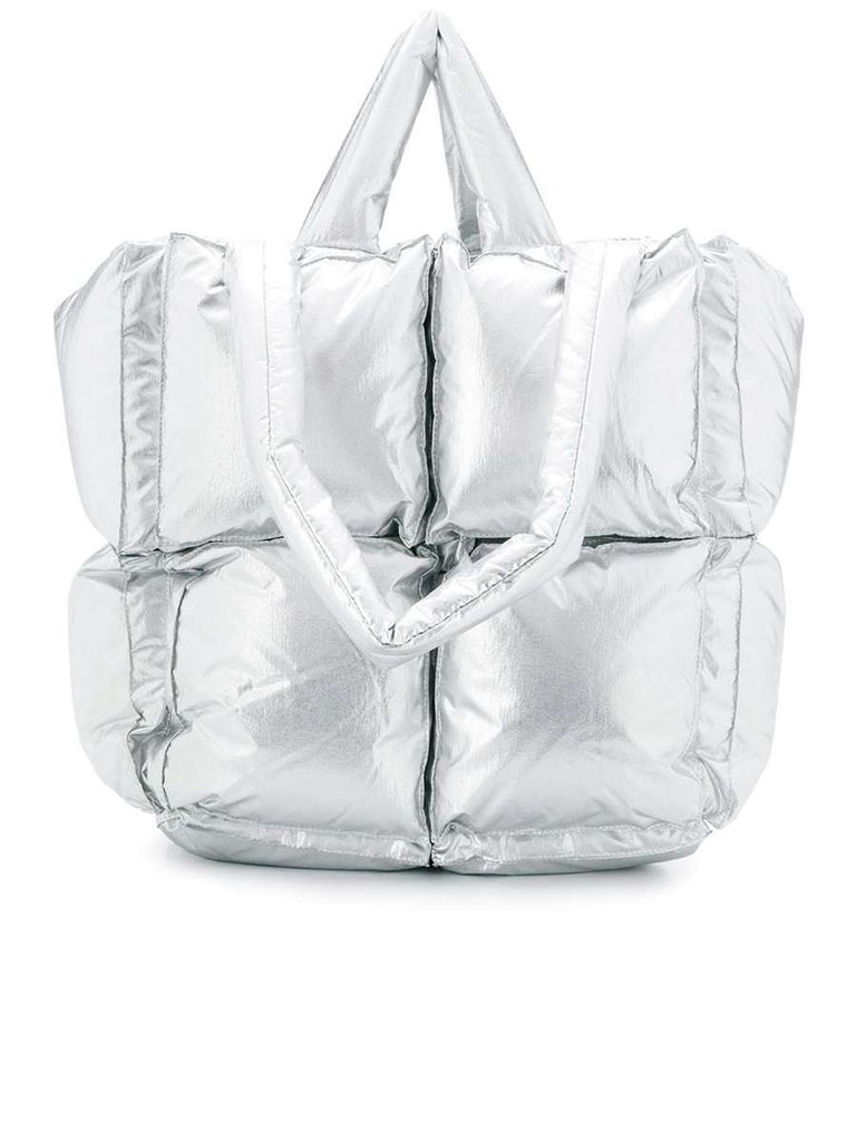 Padded Square Tote in Silver