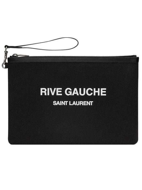 Rive Gauche in Black Bias Canvas Pouch