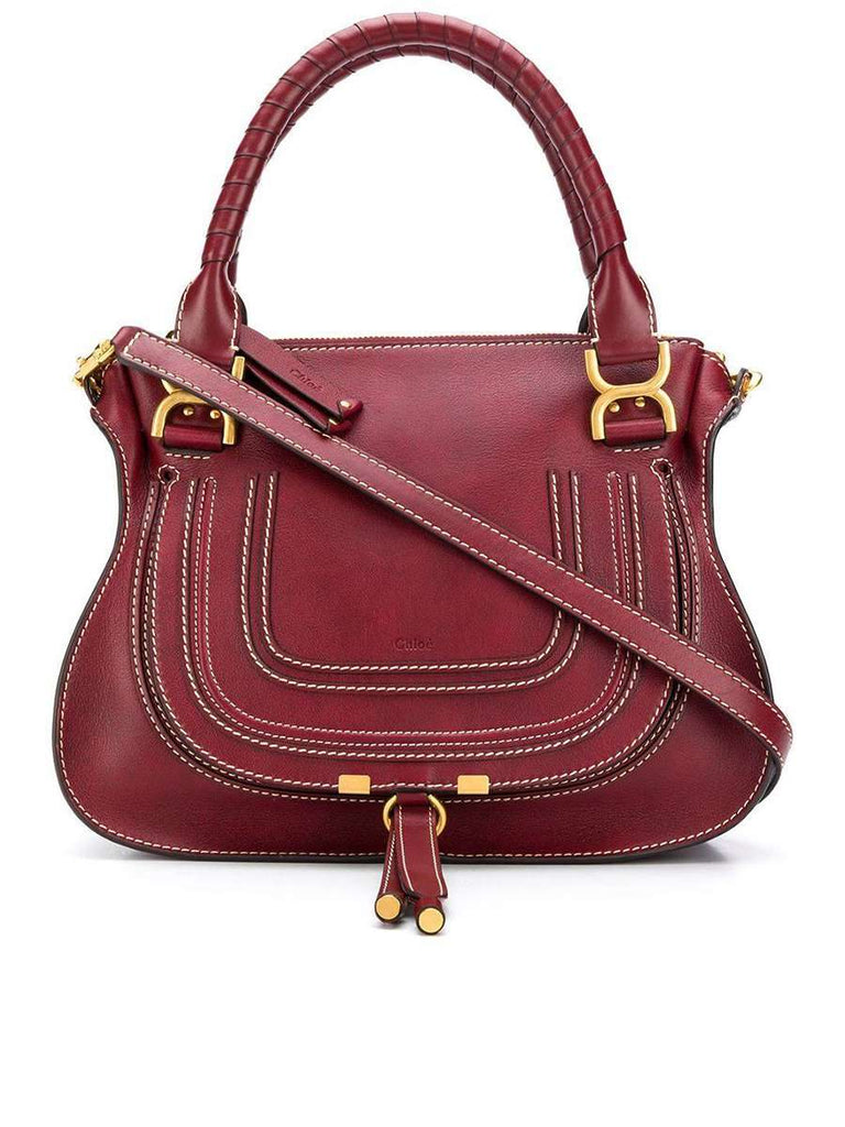 Marcie Leather Tote Bag in Stormy Red