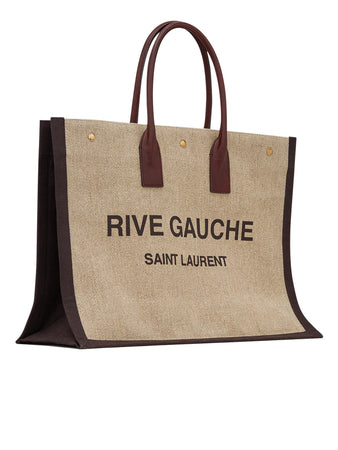 Rive Gauche Tote Bag in Printed Linen and Leather