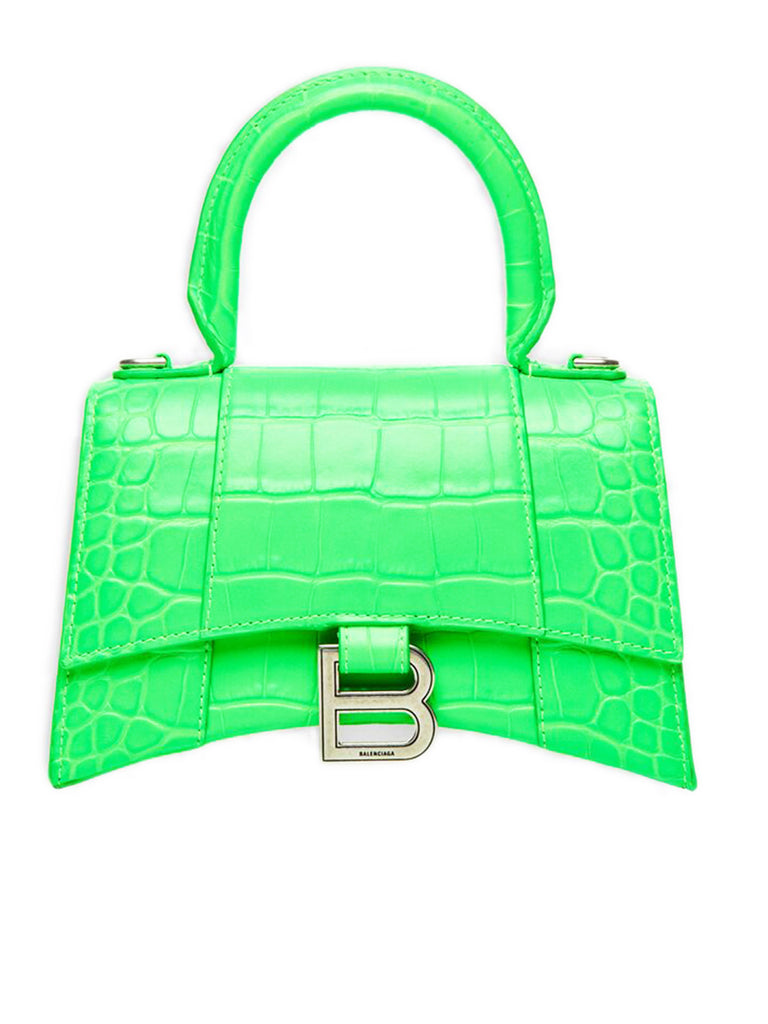 Hourglass XS Top Handle Bag in Fluo Green