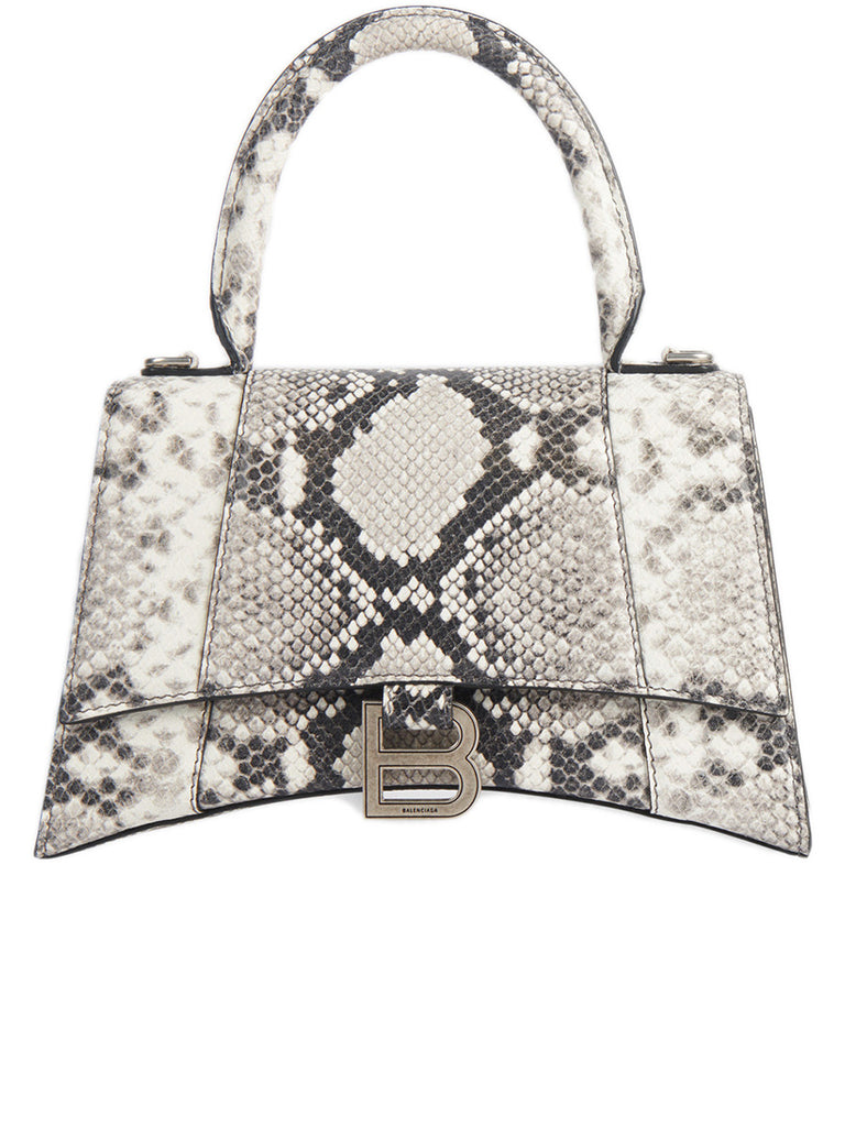 Hourglass Small Top Handle Bag in Black and White