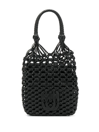 Macramé and Nappa Leather Handbag