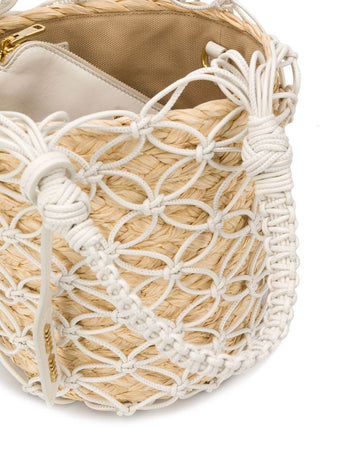 Mesh and Straw Bucket Bag in White/Natural