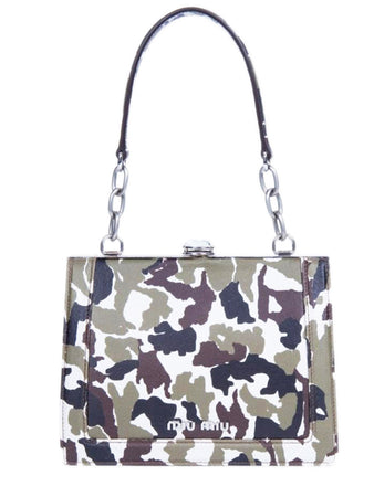 Solitaire Camouflage-print Textured-leather Shoulder Bag