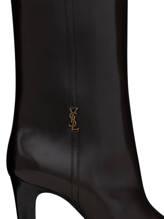 Jane Monogram Boots in Dark Chocolate Smooth Leather