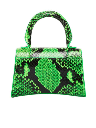 Hourglass Mini Top Handle Bag in Neon Green Python Printed Calfskin