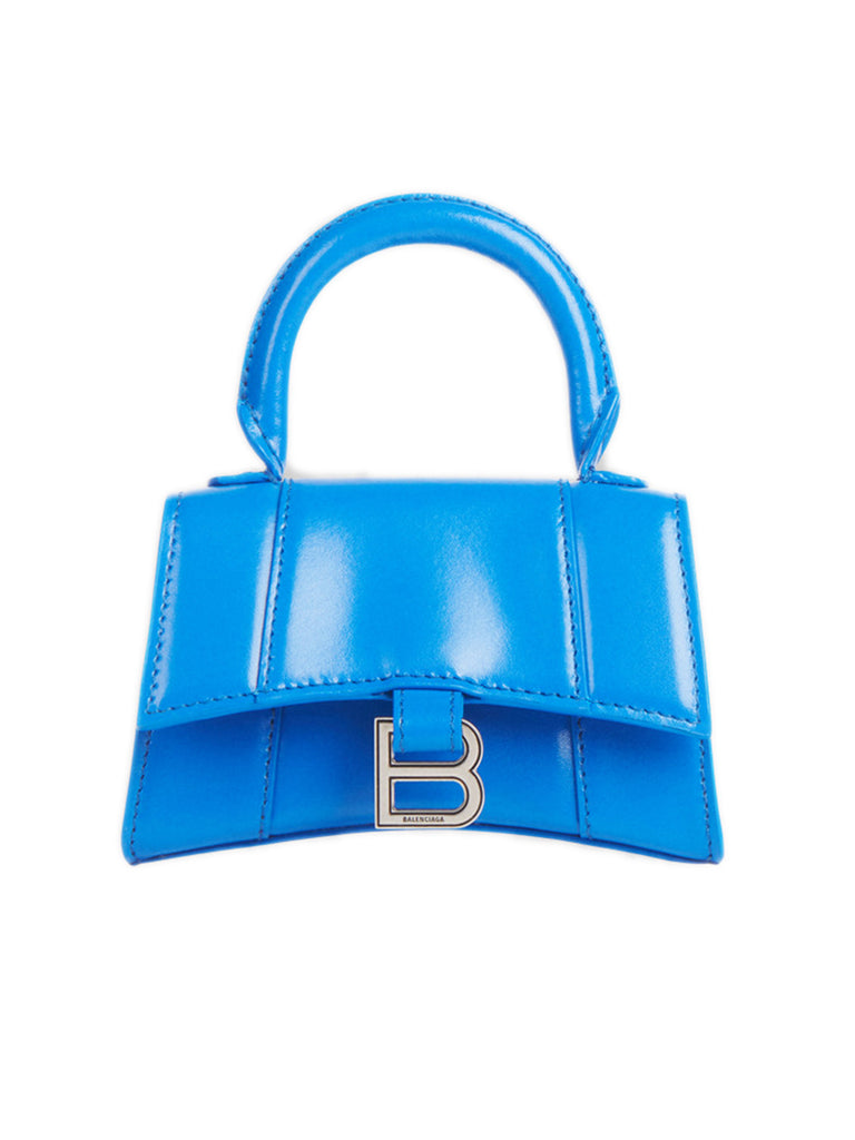 Hourglass Mini Top Handle in Blue Shiny Box Calfskin