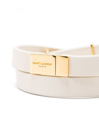 Opyum Double Wrap Bracelet in Cream Leather and Gold-tone Metal