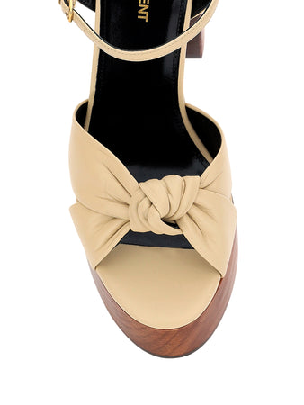 Bianca Sandals in Beige Smooth Leather and Wood