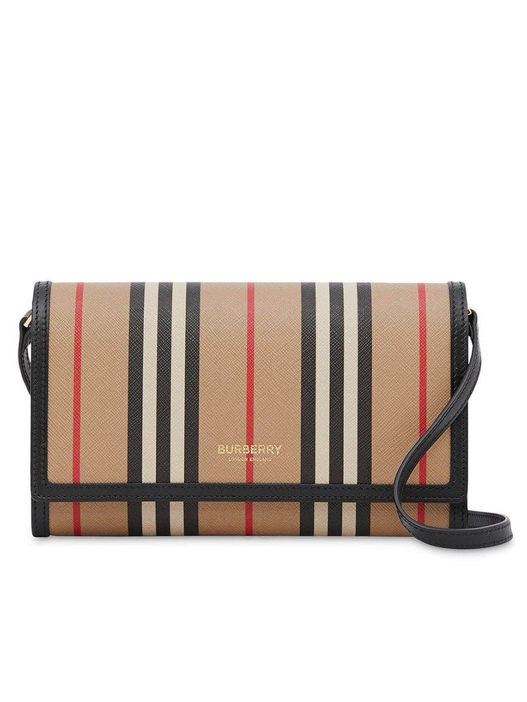 Icon Stripe E-Canvas Wallet with Detachable Strap