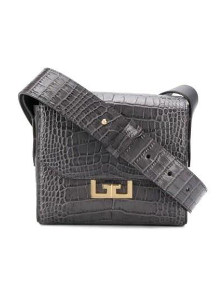 Eden Small Crocodile-effect Leather Shoulder Bag In Storm Grey