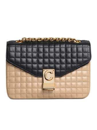 Celine Medium C Bag in Nude & Black Quilted Calfskin