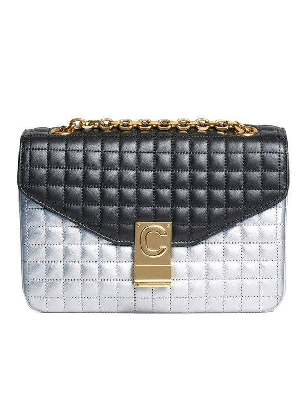 Medium C Bag in Silver & Black Quilted Calfskin