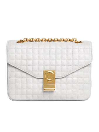 Medium C Bag in White Quilted Calfskin