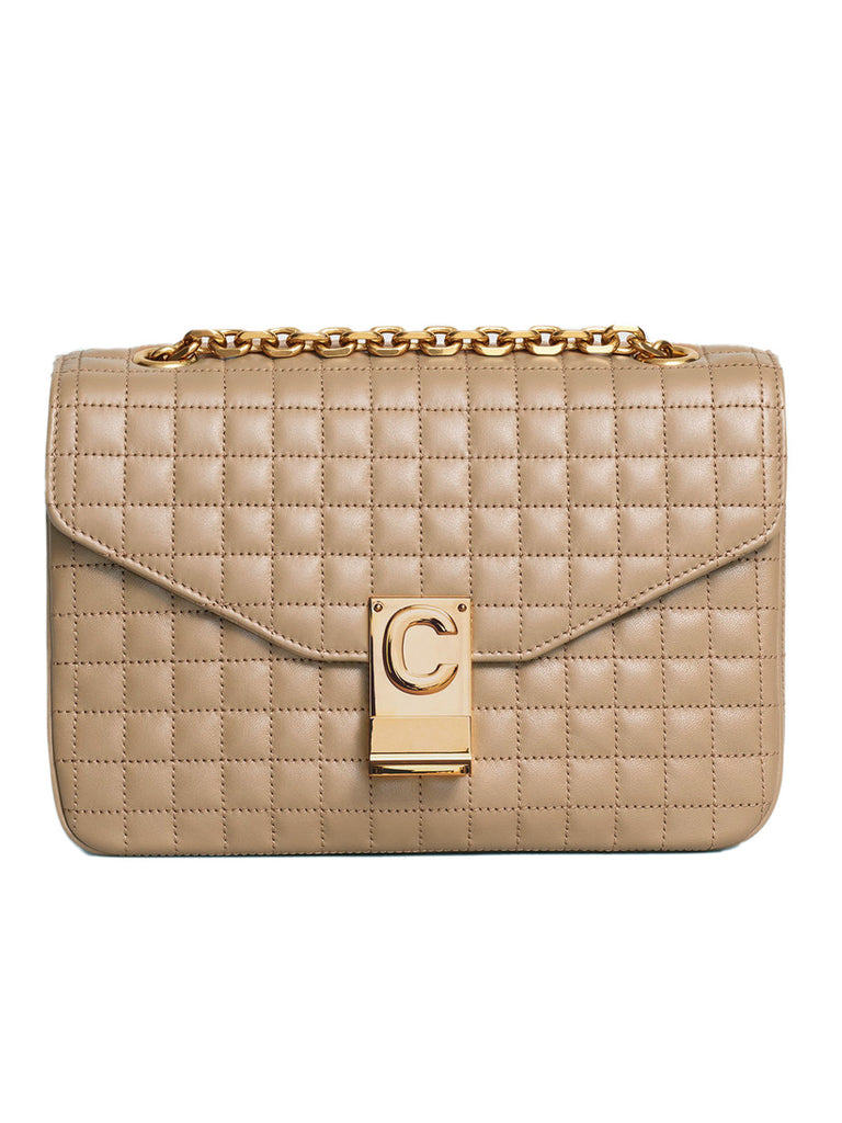 Medium C Bag in Nude Quilted Calfskin
