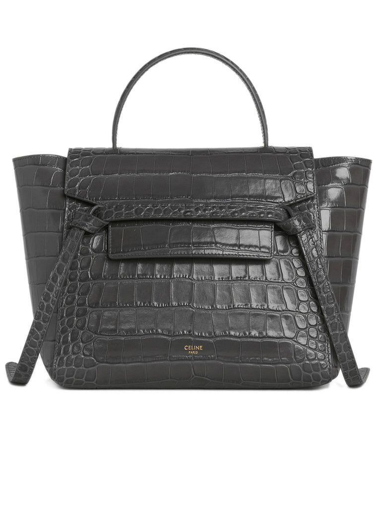 Micro Belt Bag in Grey Crocodile Embossed Calfskin