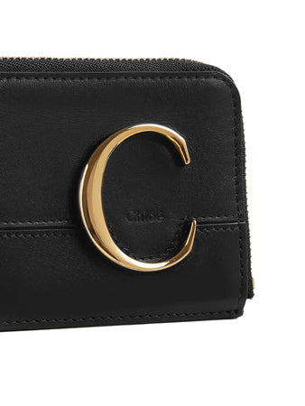 Chloé C Small Purse in Black Shiny & Suede Calfskin