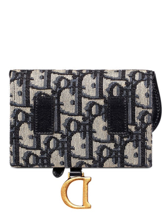 Saddle Nano Pouch in Blue Dior Oblique Jacquard