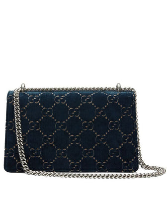 Dionysus GG Velvet Small Shoulder Bag in Blue