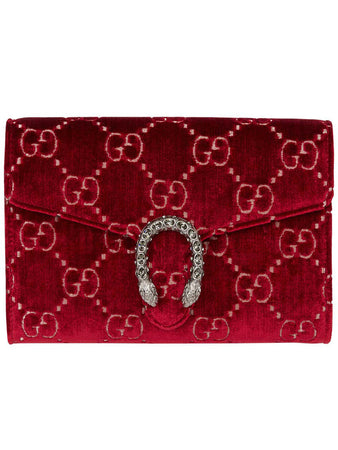 Dionysus Velvet Mini Chain Bag in Red
