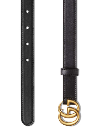 Leather Belt with Double G Buckle 2cm