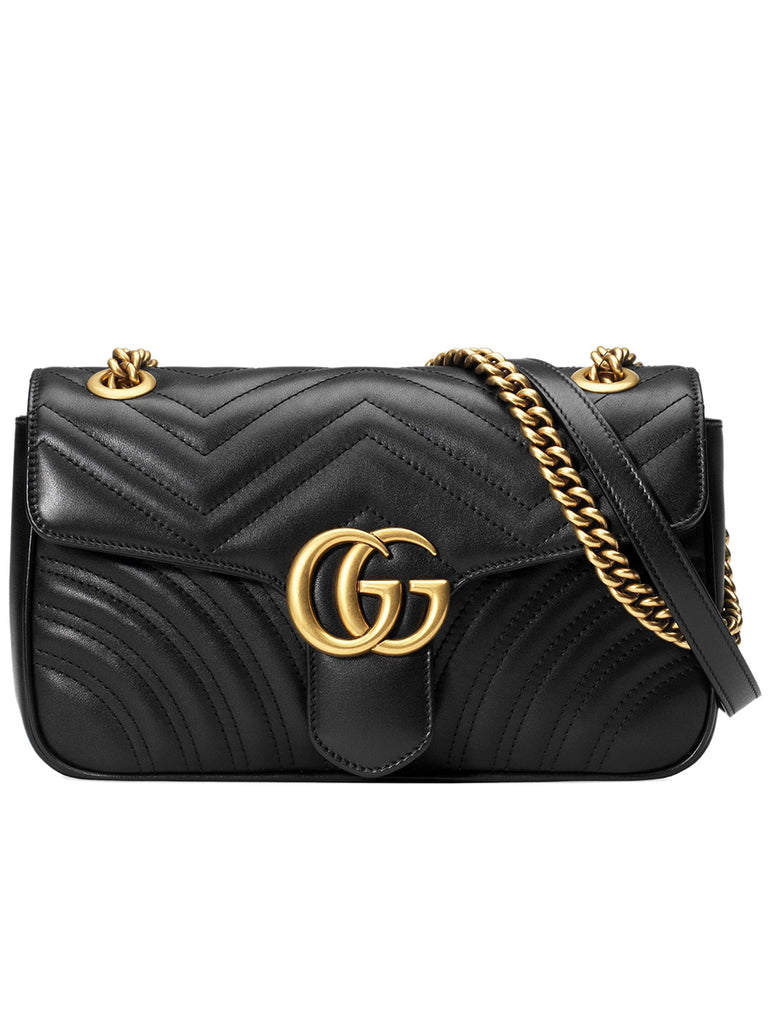 GG Marmont Small Matelasse Black Leather Shoulder Bag