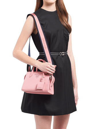 Saffiano Leather Prada Monochrome Bag in Petal Pink