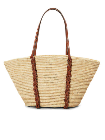 Straw and Leather Tote