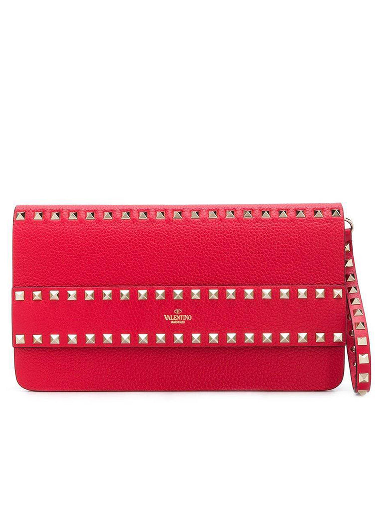 Rockstud Grainy Calfskin Clutch in Pure Red