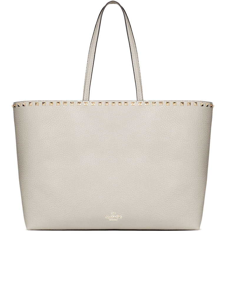 Rockstud Grainy Calfskin Tote Bag in Opal Grey