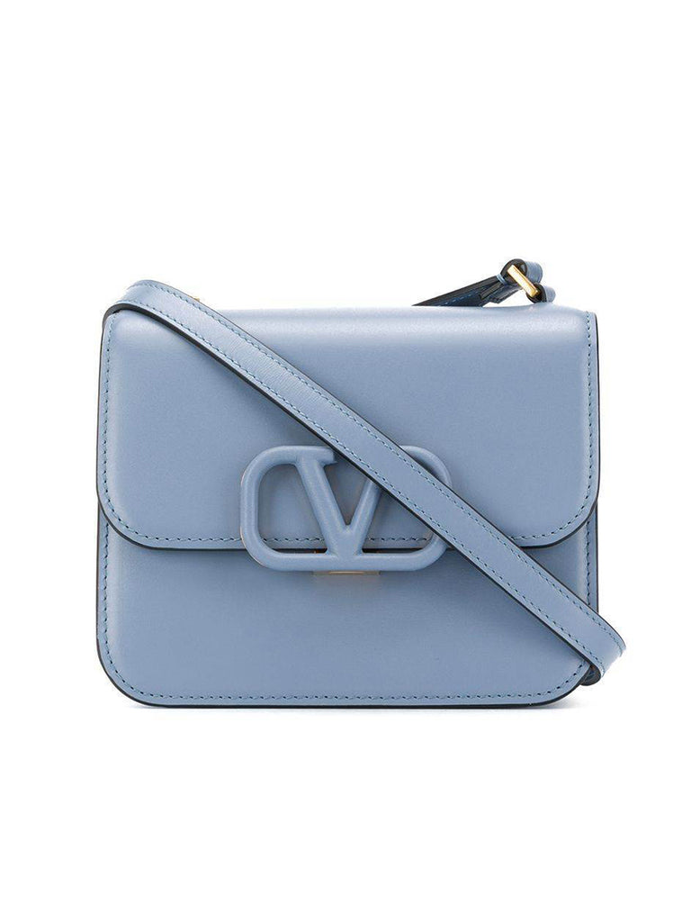 Small VSLING Shiny Calfskin Shoulder Bag in Baby Blue