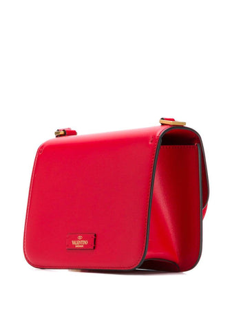 Small VSLING Shiny Calfskin Shoulder Bag in Liscia Red