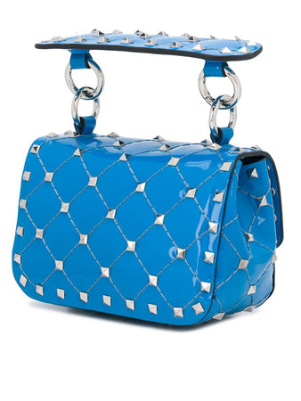 Micro Rockstud Spike Patent Leather Bag in Azure
