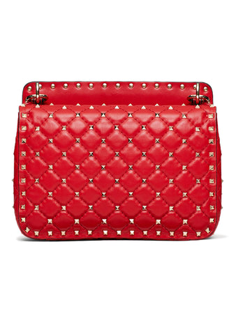 Medium Rockstud Spike Nappa Leather Bag in Rouge Pur