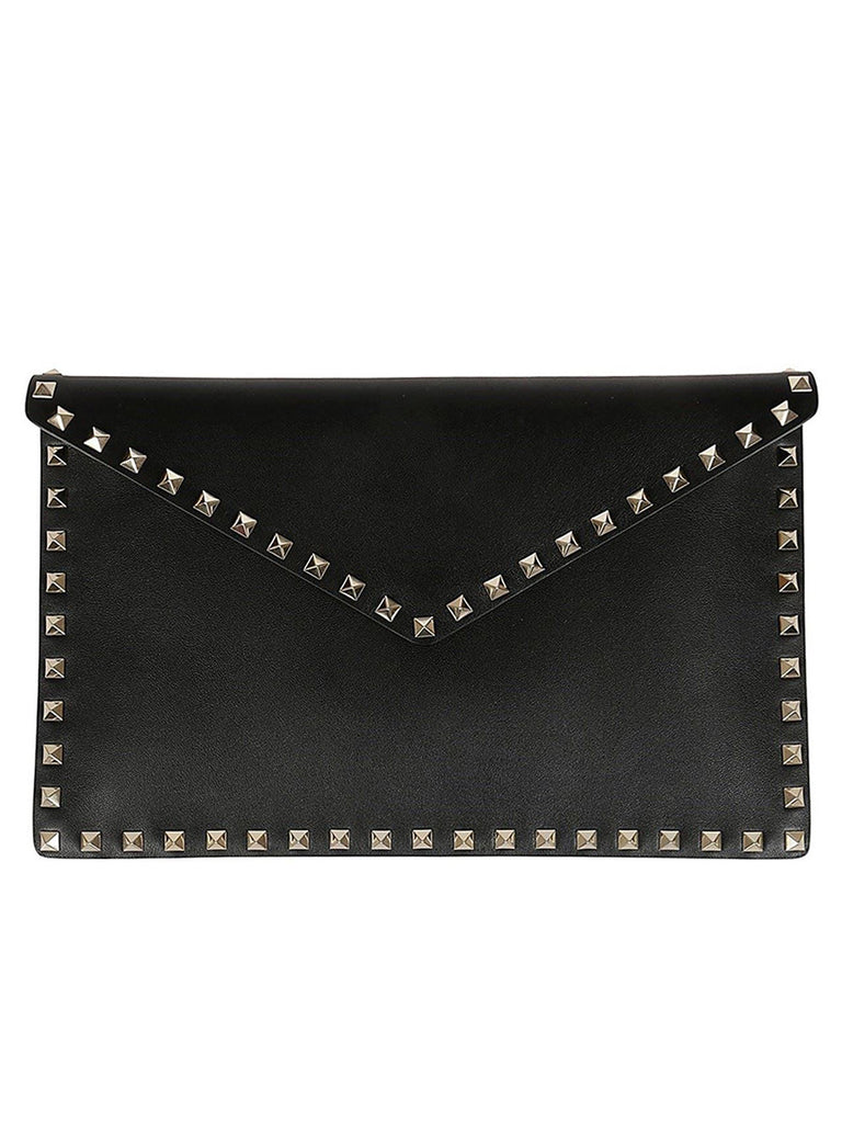 Rockstud Clutch Bag in Black