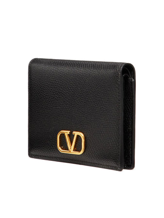 VLogo Signature Compact Wallet in Black
