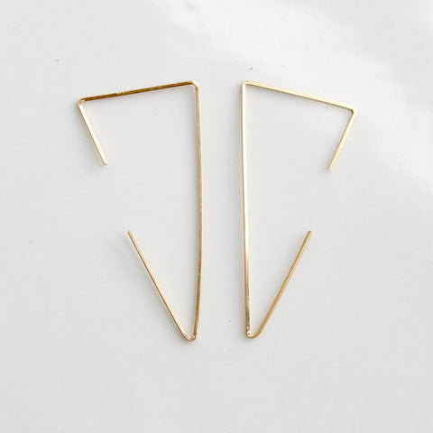 Triangle Threader Earrings | Little Hawk Jewelry | Gold Earrings