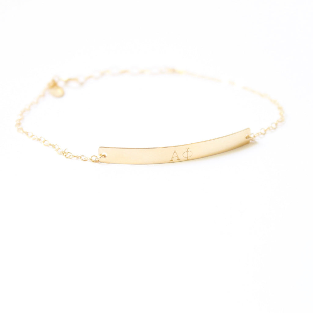 Sorority Bar Bracelet - Hand Stamped Greek Jewelry - 14k Gold Filled and Sterling Silver