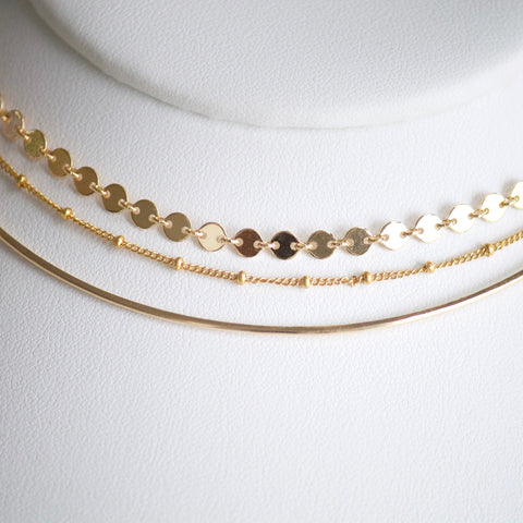 Sequin Chain Choker - Gold and Sterling Silver