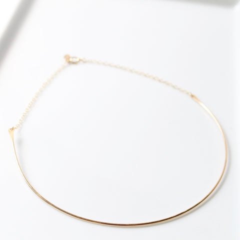 Gold Hammered Choker Necklace